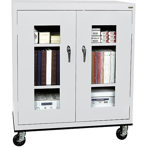 """Sandusky See Thru 48""""H Transport Mobile Clearview Counter Height Cabinet with 3 Shelves, Dove Gray (TA2V361842-05)"""