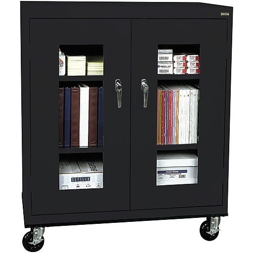 """Sandusky See Thru 48""""H Transport Mobile Clearview Counter Height Cabinet with 3 Shelves, Black (TA2V361842-09)"""
