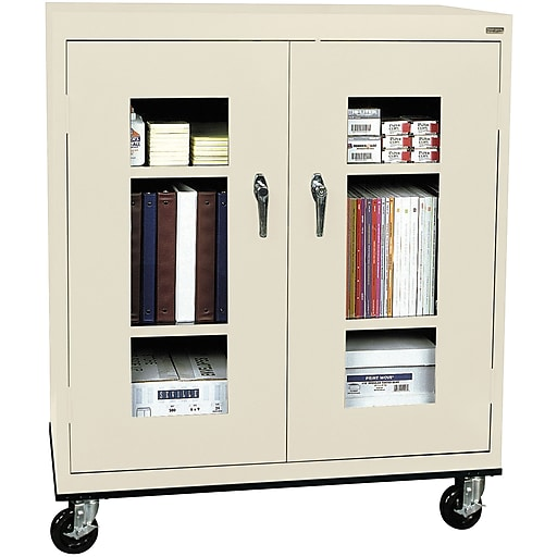"""Sandusky See Thru 48""""H Transport Mobile Clearview Counter Height Cabinet with 3 Shelves, Putty (TA2V362442-07)"""