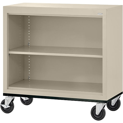 "Sandusky® Elite 36"" 2-Shelf Welded Mobile Bookcase, Putty (BM10361830-07)"