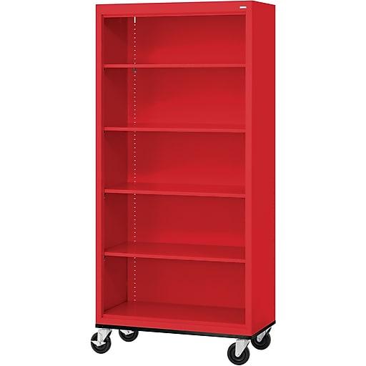 """Sandusky® Elite 78"""" 5-Shelf Welded Mobile Bookcase, Red (BM40361872-01)"""