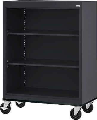 "Sandusky 48"" 3-Shelf Metal Mobile Bookcase, Black (BM20361842-09)"