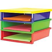 Storex Quick Stack Construction Paper Sorter, 3 Compartments, Classroom Colors (61640E01C)