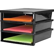 Storex Quick Stack Construction Paper Sorter, 3 Compartments, Black (61642E01C)