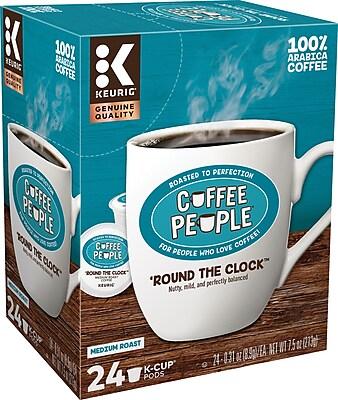 Coffee People® Round The Clock Coffee, Keurig® K-Cup® Pods, Medium Roast, 24/Box (5000202777)