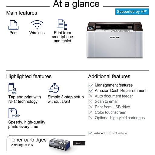 Samsung Xpress M2020W Wireless Monochrome Laser Printer with NFC + Wi-Fi  Mobile Printing - Supported by HP (1) (SS272H)