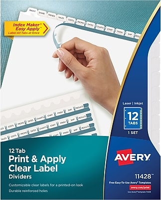 Avery Print & Apply Clear Label Dividers, Index Maker Easy Apply Printable Label Strip, 12 White Tabs (11428)
