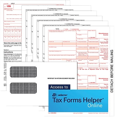 TOPS® 1099MISC Tax Form Kit for use with Adams® Tax Forms Helper® Online, 5 Part, White, 8 1/2