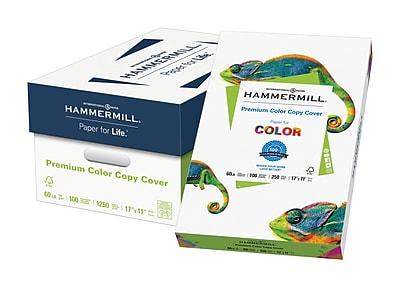 """Hammermill® Premium Color Copy  Cover Paper, 100lb,  17"""" x 11"""", 100 Bright, White, 750/Case"""