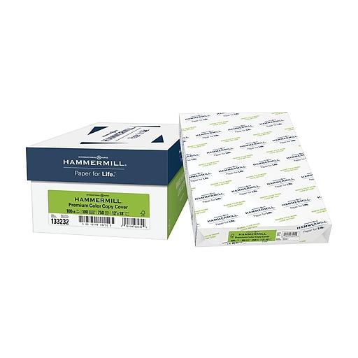 """Hammermill® Premium Color Copy Cover Paper, 100lb, 18"""" x 12"""", 100 Bright, White, 750-Case"""