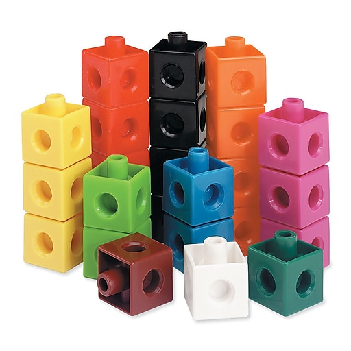 "Learning Resources Snap Cubes® Plastic Assorted 10-Color 3/4"", Set of 500 (LER7585)"