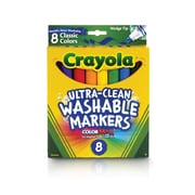 Crayola Ultra-Clean Washable Markers, Wedge Tip, Assorted Colors 8 Count (58-7808)