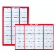 """2019-2020 48""""H x 36""""W Staples Academic Erasable Yearly Wall Calendar, 12 Months, Red (54274-19)"""