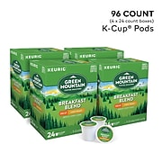 Green Mountain Breakfast Blend Decaf Coffee, Keurig® K-Cup® Pods, Light Roast, 96/Carton (7522)
