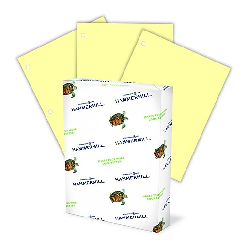 """Hammermill Colors 3-Hole Punched Copy Paper, 20 lbs, 8.5"""" x 11"""" (US letter), Canary, 500/Ream (102921)"""