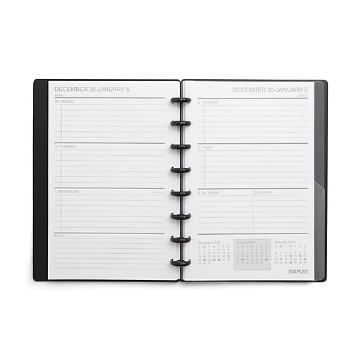 """Staples® Arc System 2019-2020 Academic Year Weekly Planner, Black Poly, 5-1/2"""" x 8-1/2"""" (29597-19)"""