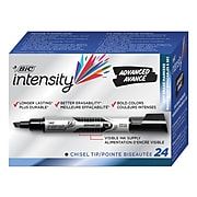 BIC Intensity Advanced Dry Erase Marker, Tank Style, Chisel Tip, Black, 24/Pack (GELITP241BLK)
