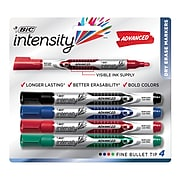 BIC Intensity Advanced Dry Erase Marker, Bullet Tip, Assorted Colors, 4/Pack (GELIPP41AST)