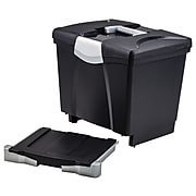 Storex File Box with Pull-Out Tray, Letter Size, Black (61523E02C)