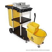 Coastwide Professional™ Click-Connect Janitorial Heavy Duty 35 Quart Mop Bucket with Side Press Wringer, Yellow (CW55229)