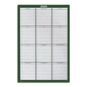 """2020 Staples 24"""" x 36"""" Wall Calendar, Green (53908-20)"""