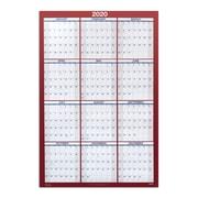 """2020 Staples 24"""" x 36"""" Wall Calendar, Red (53903-20)"""