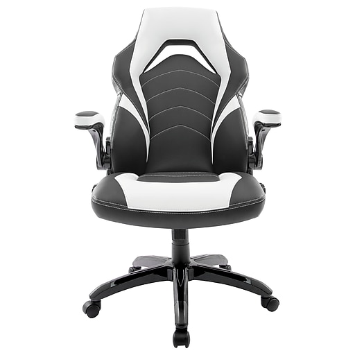 Staples Bonded Leather Black and White Gaming Chair (55172)