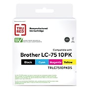 TRU RED™ Remanufactured Black/Cyan/Magenta/Yellow High Yield Ink Cartridge Replacement for Brother LC75, 10/Pack