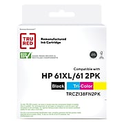 TRU RED™ Remanufactured Black High Yield and Tri-Color Standard Ink Cartridge Replacement for HP 61XL/61 (CZ138FN), 2/Pack