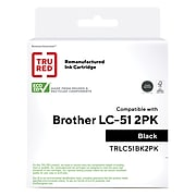 TRU RED™ Remanufactured Black Standard Yield Ink Cartridge Replacement for Brother LC51BK (LC51BK2PKS), 2/Pack