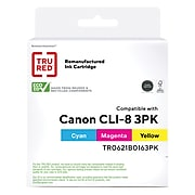 TRU RED™ Remanufactured Cyan/Magenta/Yellow Standard Yield Ink Cartridge Replacement for Canon CLI-8 (0621B016), 3/Pack