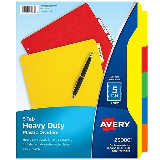 Avery Heavy-Duty Blank Plastic Dividers, 5-Tab, Multicolor (23080)