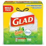 "Glad OdorShield Gain with Febreze 13 gal. Tall Kitchen Trash Bags, .72 mil., 25.75"" x 11.75"", White, 110/Box (79098)"