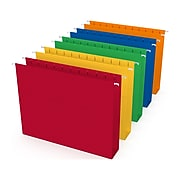 """TRU RED™ Reinforced Box Bottom Hanging File Folders, 2"""" Expansion, 5 Tab, Letter Size, Assorted, 25/Box (TR20028)"""