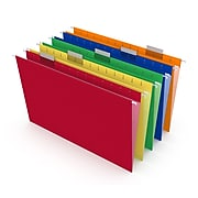 TRU RED™ Reinforced Hanging File Folders, 5-Tab, Legal Size, Assorted Colors, 25/Box (TR18657)