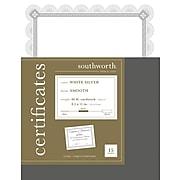 Southworth Premium Spiro Design 8.5 x 11 Certificates, White/Silver, 15/Pack (CTP2W)