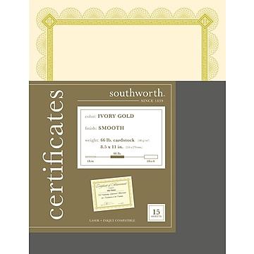Southworth Premium Spiro Design 8.5 x 11 Certificates, Ivory/Gold, 15/Pack (CTP2V)