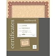"""Southworth Foil Enhanced Parchment Certificates, 8.5"""" x 11"""", 24 lb., Parchment Finish, Copper, 25/Pack (CT5R)"""