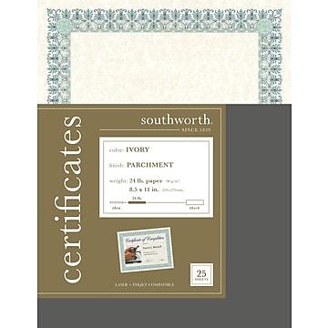 Southworth Parchment Certificates, Ivory, 25/Pack (CT3R)