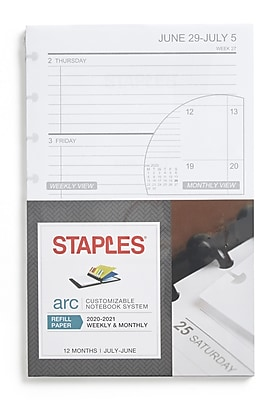 No Brand Staples Arc System 2020 Weekly Planner Refill 28104-20