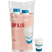 Perk™ Paper Cup & Lid Combo, 12 Oz., White/Blue, 50/Pack (PK54365)