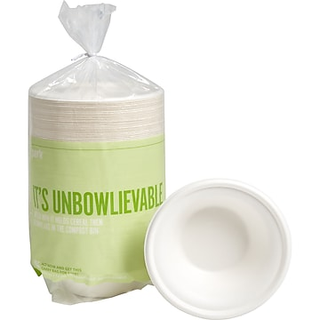 Perk™ Compostable Paper Bowls, 12 Oz., White, 125/Pack (PK56334)
