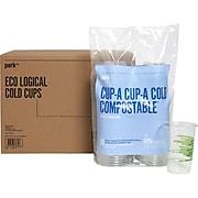 Perk™ Compostable Plastic Cold Cup, 16 Oz., Clear/Green, 300/Carton (PK56197)