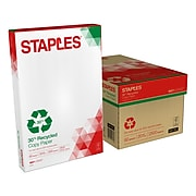 "Staples 30% Recycled 11"" x 17"" Copy Paper, 20 lbs., 92 Brightness, 500/Ream, 5 Reams/Carton (112390)"