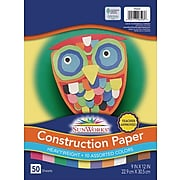 """Pacon Sunworks 9""""W x 12""""H Construction Paper, Assorted, 5/Pack (55419-PK5)"""