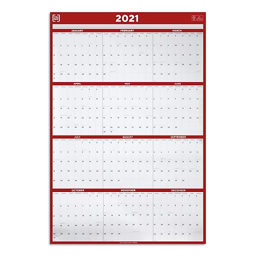 "2021 TRU RED™ 36"" x 24"" Wall Calendar, Red/Black/White ..."