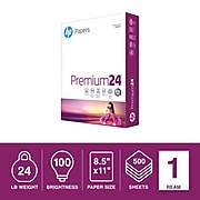 "HP Premium24 8.5"" x 11"" Multipurpose Paper, 24 lbs., 100 Brightness, 500/Ream (HPJ1124)"