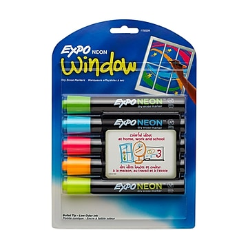 Expo Neon Window Dry Erase Markers, Bullet Tip, Assorted Ink, 5/Pack (1752226)