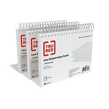 """TRU RED™ 4"""" x 6"""" Index Cards, Lined, White, 50 Cards/Pack, 3 Pack/Carton (TR51007)"""
