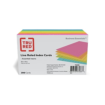 """TRU RED™ 3"""" x 5"""" Index Cards, Lined, Assorted Colors, 300/Pack (TR50998)"""